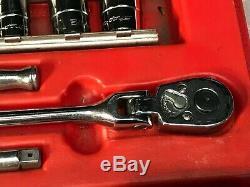 Snap-On 1/4 Drive Socket Ratchet Tool Set 3/16 -9/16 12 Point Shallow + Deep
