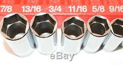 Snap-On 11 pc 3/8 Drive 6 Point SAE Deep Flank Drive Socket Set No Owner Marks
