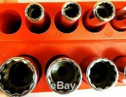 Snap On 111stmmdy & 112tmmdsy 1/4 Flank Drive 12-point Deep & Semi Socket Set
