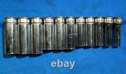 Snap-On 11pc 3/8 Dr 12 Point Metric Flank Drive Deep Socket Set 9-19mm Banded