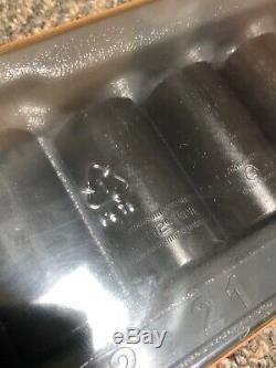 Snap On 12 pc 1/2 Drive 6-Point Metric Flank Drive Semi-Deep Impact Socket Set