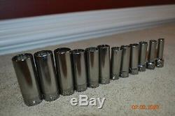 Snap On 12 pc 3/8 Drive 12-Point Metric Flank Drive Deep Socket Set #37