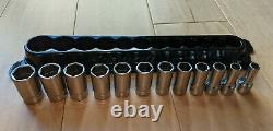 Snap On 12 pc 3/8 Drive 6-Point Metric Flank Drive Semi-Deep Socket Set 8-19mm