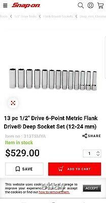 Snap-On 13 pc 1/2 Drive 12-Point Metric Flank Drive Deep Socket Set (12-24 mm)