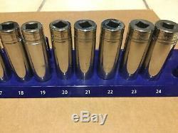Snap On 13 pc 1/2 Drive 6-Point Flank Drive Deep Socket Set 12-24 mm 313TSMYA