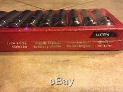 Snap On 13 pc 1/2 Drive 6-Point SAE Flank Drive Deep Socket Set (3/81-1/8)