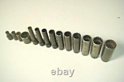 Snap-On 14 pc 1/4 Drive 12-Point Deep Shallow Oxide Socket Set 3/16 9/16 N4