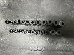 Snap-On 24 Pc 6 Point 1/4 Drive Metric Shallow & Deep Impact Socket Set 5.5-15mm
