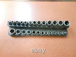 Snap-On 26 PIECE 1/4 DRIVE METRIC 6 POINT DEEP + SHORT SOCKET SET 4MM TO 15MM