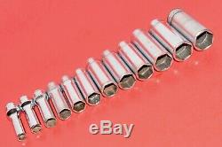 Snap-On 3/8 Drive 12 Piece Deep Well Metric 8 19mm 6 Point Chrome Socket Set