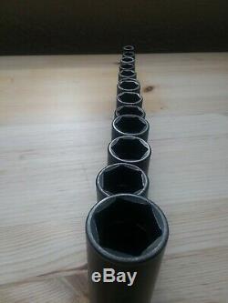 Snap-On 3/8 Drive 6-Point Metric Flank Deep Impact Socket Set 214SIMFMYA 8-19,24