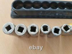 Snap On 3/8 Drive Deep Socket Set 6 Point 8mm-19mm Magnetic Tray Used
