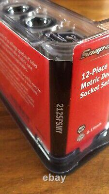 Snap On 3/8 Drive Deep Socket Set 6 Point Flank Drive 8-19mm Magnetic Tray NEW