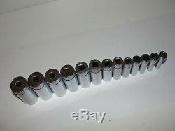 Snap On 3/8 Drive SAE Deep 6 Point Chrome Socket 14 pc Set 1/4 1 214SFSY USA