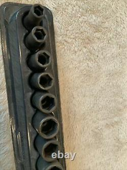 Snap On 3/8 Drive Semi Deep Socket Set, Metric, 6 Point, 8-19mm, Surface Rust