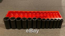 Snap-On 313SIMA 13 pc 1/2 Drive 6-Point SAE Flank Drive Deep Impact Socket Set