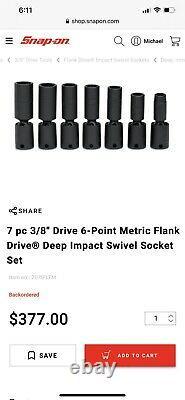 Snap On 7 pc 3/8 Drive 6-Point Metric Flank Drive Deep Impact Swivel Socket Set