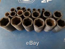 Snap On SAE 1/2 Drive Deep Impact Socket Set 20 Piece 3/8 1 9/16 6 Point