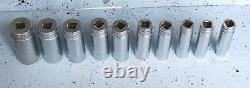 Snap On Snapon 1/2 Drive Sae 6 Point Deep Socket Set Of 10 1/2 1 1/8