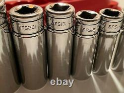 Snap-On Tools 11 Pc 3/8 Drive 6-Point SAE Flank Drive Deep Socket Set 211SFSY