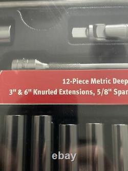 Snap On Tools 17pc 3/8 Drive Deep Socket 6-Point Metric Starter Set Brand New