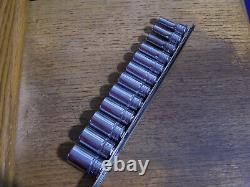 Snap-On Tools 3/8 Drive 12Pc Metric 12 Point Semi-Deep Socket Set 212FMSY Nice