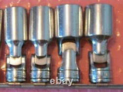 Snap-On Tools 7 Piece 3/8 Drive SAE Deep Swivel 6 Point Chrome Set 3/8-3/4