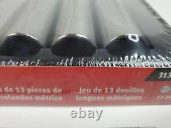 Snap On Tools New 313TSMYA 13 Pc 1/2 Drive 6-Point Metric Deep Socket Set 12-24
