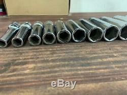 Snap On Tools SAE Socket Set 1/2 Drive Deep 6-point 3/8-1 1/8
