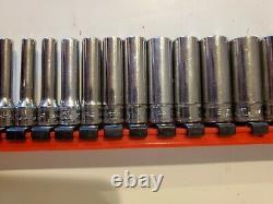 Snap-On Tools USA 1/4 Drive 12 Piece Metric Deep 6-Point SOCKET SET 4mm 15mm