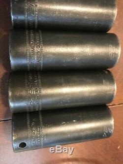 Snap On Tools USA 6-Point Deep Long Impact Socket Set 1/2 Flank Drive Metric MM