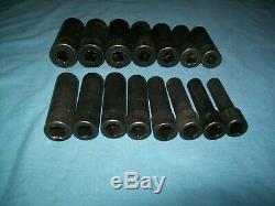 Snap-on 1/2 drive 10 to 24 mm 6-point DEEP Impact Socket Set 315SIMMYA ExC