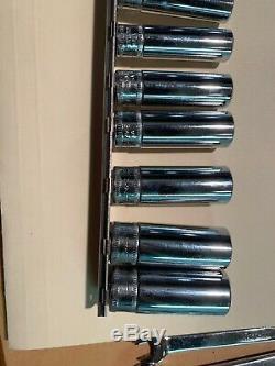 Snap on 1/4 drive deep metric 6 Point socket set 13 Pieces Plus Rail Excellent