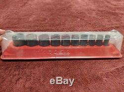 Snap-on 10 Pc 3/8 Drive 6-Point SAE Flank Drive Semi-Deep Impact Socket Set New