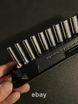 Snap on 112STMMY 5-15mm 12 pc 1/4 6-Point Metric Flank Drive Deep Socket Set