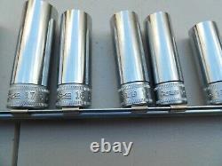 Snap-on 14 pc 3/8 Drive 12-Point Metric Deep Socket Set (6-19 mm)
