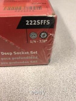 Snap-on 22 Pc 3/8 Drive 6-Point SAE Flank Drive Shallow & Deep Socket 222SFFS
