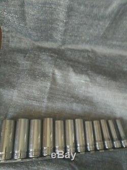 Snap on 3/8 Drive 12 Point Socket Set 11 pc SAE Deep Chrome 211FSY Plus 19/32