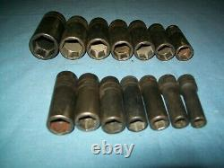 Snap-on 3/8 drive 8 to 24 mm 6-point DEEP Impact Socket Set 214SIMFMYA Used