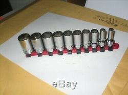 Snap on FSS 10pc 3/8 Drive 6 Point SAE 1/4 13/16 Semi Deep Socket Set USA