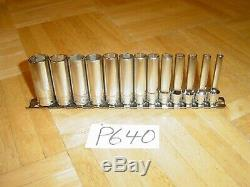 Snap-on Tools 13 Piece 1/4 Drive Metric 6 Point Deep Socket Set 4mm To 15mm
