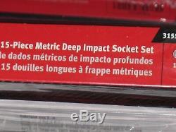 Snap-on Tools 15 Piece 1/2 Drive Single Hex/6 Point Deep Impact Socket Set
