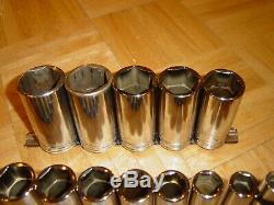Snap-on Tools 16 Piece 1/2 Drive Sae. Deep Socket Set 6 Point 3/8 Through 1-5/16