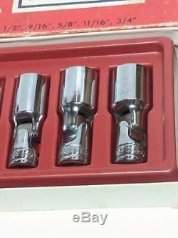 Snap-on Tools USA 7pc 3/8 Drive SAE 6 Point Deep Chrome Swivel Socket 207FSU