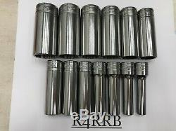 Snap-on Tools USA NEW 13pc 1/2 Drive SAE Deep 12 POINT Chrome Socket Set 313SYA