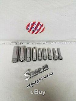 Snap-on USA 9-pc. 3/8 Drive 212SFMY 12-Point METRIC Deep Socket Set