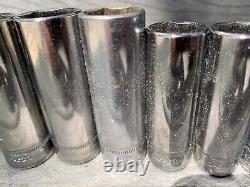 Snap on metric deep well socket set 3/8 drive 12 piece 6 point 8-19mm