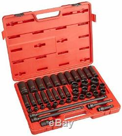 Sunex 2569 1/2-Inch Drive Metric Impact Socket Set, Standard/Deep, 6-Point, Cr-M
