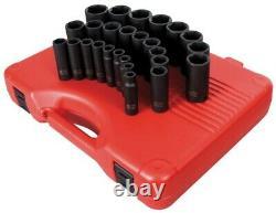 Sunex 26pc 1/2 Metric 6pt Point Deep Well Impact Sockets Set Tools Drive MM 2646