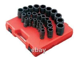 Sunex 26pc 3/4 Metric 6pt Point Deep Impact Sockets Set Tools Drive MM 4693